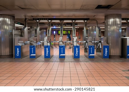 NEW YORK CITY - MAY 2015: Grand Central subway station. The NYC Subway is one of the oldest and most extensive public transportation systems in the world, with 468 stations. - stock photo