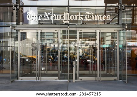 NEW YORK CITY - MAY 7, 2015: Headquarters entrance of of The New York Times newspaper building.