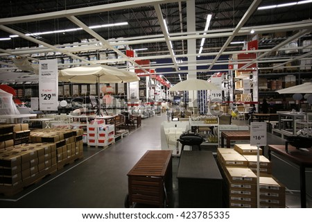 NEW YORK CITY - MAY 19 2016: Ikea is a group of international companies that designs & sells furniture, appliances & home goods from warehouse-like stores. Interior view of Red Hook, Brooklyn Ikea - stock photo