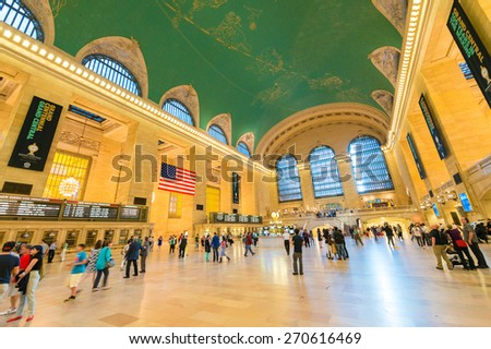 NEW YORK CITY - MAY 20: Interior of Grand Central Station on May 20, 2013 in New York City, NY. The terminal is the largest train station in the world by number of platforms having 44 - stock photo