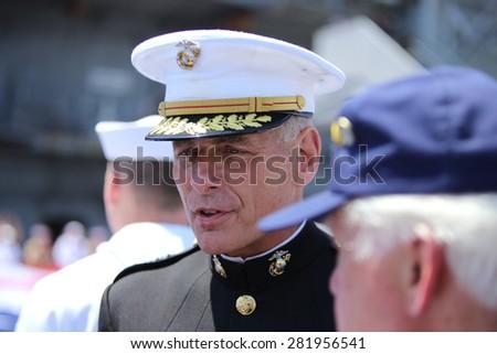NEW YORK CITY - 25 MAY 2015: Mayor Bill de Blasio & Gen John Kelly presided over Memorial Day observances on Pier 86 by the USS Intrepid. General John Kelly, USMC, on Pier 86 - stock photo