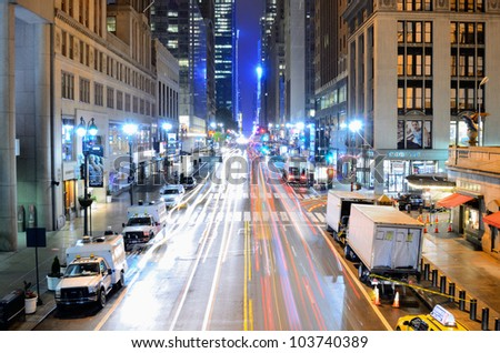 NEW YORK CITY - MAY 15: 42nd Street May 15, 2012 in New York, NY. The famed crosstown street passes several landmarks such as Times Square, the Chrysler Building, Grand Central Station and more. - stock photo