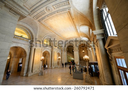 NEW YORK CITY - MAY 7: New York Public Library Astor Hall, Manhattan on May 7th, 2013 in New York City, USA - stock photo