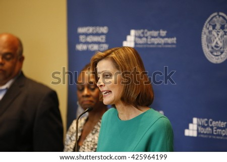 NEW YORK CITY - MAY 17 2016: NYC first lady Chirlane McCray led a press conference at Time Warner Center to announce strategies to enhance youth employment. Deanna Mulligan, CEO of the Guardian - stock photo