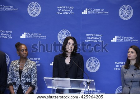 NEW YORK CITY - MAY 17 2016: NYC first lady Chirlane McCray led a press conference at Time Warner Center to announce strategies to enhance youth employment. Melissa Smith of JP Morgen - stock photo