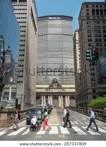 NEW YORK CITY - MAY, 2015: People crossing street in front of Grand Central Station. - stock photo