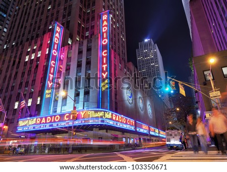 NEW YORK CITY - MAY 12: Radio City Music Hall at Rockefeller Center May 12, 2012 in New York, NY. Completed in 1932, the famous music hall was declared a city landmark in 1978. - stock photo