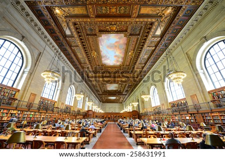 NEW YORK CITY - MAY 7: Rose Main Reading Room wide angle, New York Public Library on May 7th, 2013 in Manhattan, New York City, USA - stock photo