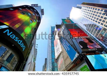 NEW YORK CITY -  MAY 9: Skyscrapers and lots of advertising billboards at 42nd Street near Times Square in Midtown Manhattan on May 9, 2016 in New York, NY, USA. - stock photo