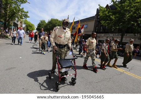 NEW YORK CITY - MAY 26 2014: The 146th annual King's County Memorial Day Parade, one of the nation's oldest, honored fallen & living veterans in the streets of Bay Ridge, Brooklyn. Elder scout on 3rd - stock photo