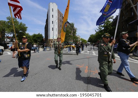 NEW YORK CITY - MAY 26 2014: The 146th annual King's County Memorial Day Parade, one of the nation's oldest, honored fallen & living veterans in the streets of Bay Ridge, Brooklyn. Vietnam veterans, - stock photo