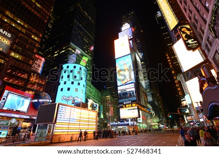 NEW YORK CITY - MAY 6, 2013: Times Square on Broadway at night wide angle, Manhattan in New York City, USA.