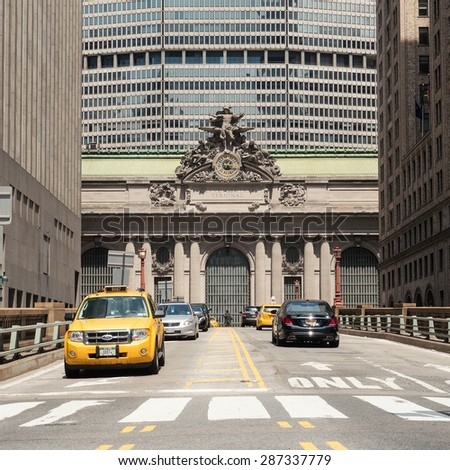 NEW YORK CITY - MAY, 2015: Traffic in front of Grand Central Station in New York City. - stock photo