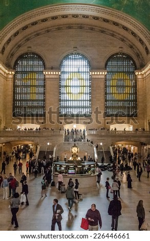 NEW YORK CITY- MAY 7 : view of commuters and tourists flood the grand central station during the afternoon rush hour, NYC USA, May 7, 2013. - stock photo