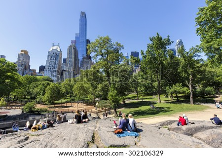 NEW YORK CITY - MAY 24: View of Heckscher Playground from Umpire Rock in Central Park South on May 24, 2015 in New York. Heckscher Playground is the oldest and largest playground in Central Park.
