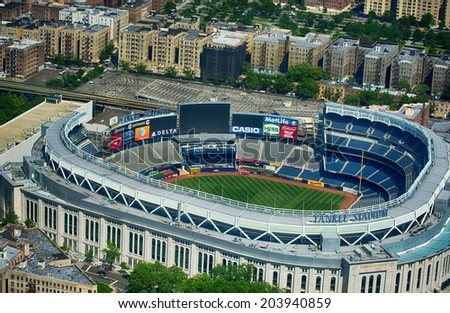 NEW YORK CITY - MAY 21: Yankee Stadium is a stadium located in The Bronx in New York City. It is the home ballpark for the New York Yankees. May 21, 2013 in New York City, USA. - stock photo