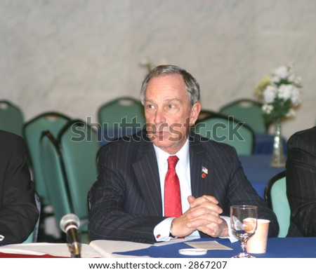 New York City Mayor Mike Bloomberg, founder of Bloomberg LP, among the richest men in the world - stock photo