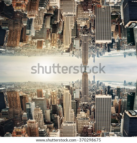 New York City midtown panorama in inception futuristic style - stock photo