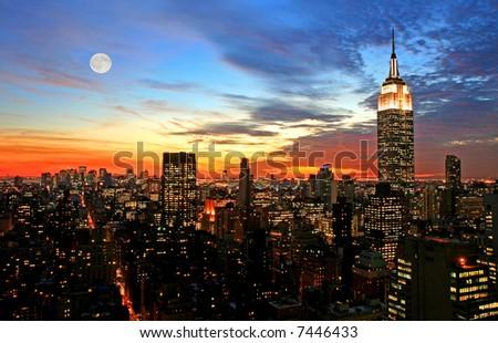 New York City midtown skyline at dark - stock photo