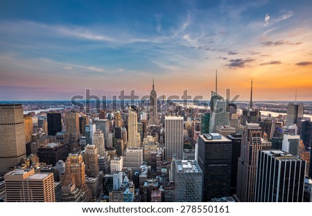 New York City midtown skyline at sunset
