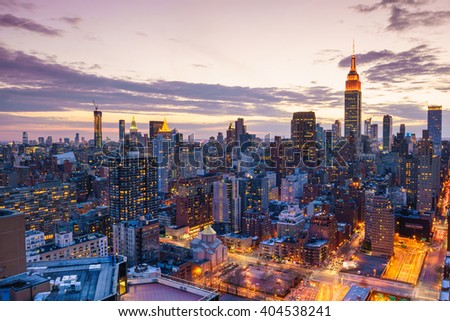 New York City midtown skyline at sunset - stock photo