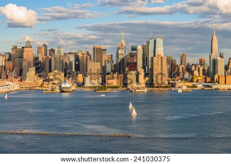 New York City midtown skyline over Hudson river - stock photo