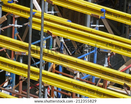 NEW YORK CITY, NEW YORK - APRIL 28: Construction scaffolding along the High Line Park. Some people fear the new high-rise buildings will destroy the views that make the park so popular.