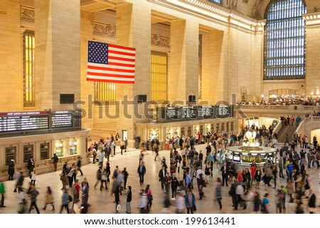 New York City, NEW YORK CITY - JUNE 11: Interior of Grand Central Station on Junw 11, NY. The terminal is the largest train station in the world by number of platforms having 44. - stock photo