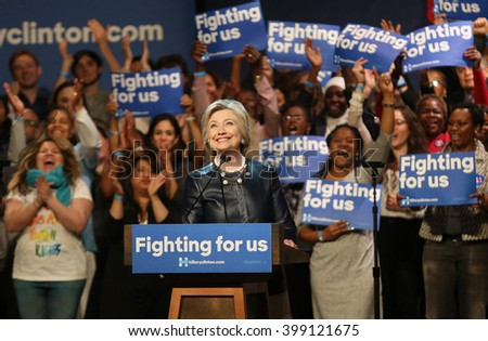 New York City, New York, USA, March 30, 2016; Democratic Presidential Candidate Hillary Clinton walks onto stage at the Apollo Theater in Harlem, New York City.
