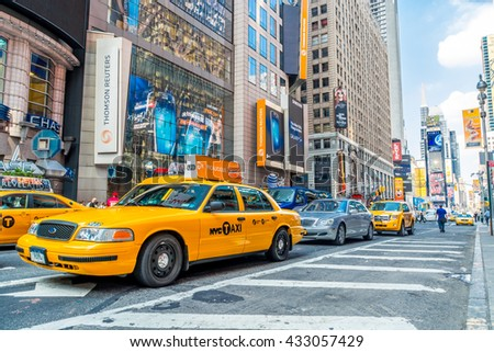 NEW YORK CITY, NEW YORK, USA  MAY 21, 2013: cars and taxis at Times Square area