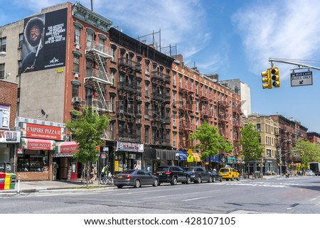 NEW YORK CITY, NEW YORK, USA - MAY  16, 2013:  Typical houses in the Village - stock photo