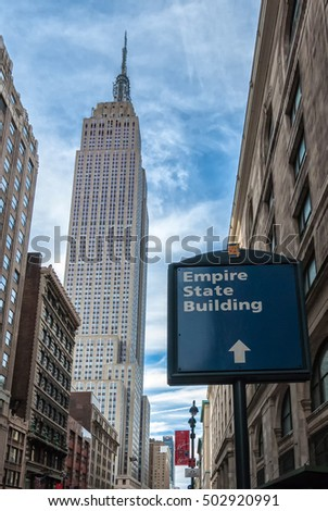 NEW YORK CITY - NOV 28:  Empire State Building on November 28, 2011.  The famous landmark is home to many companies, including Shutterstock.