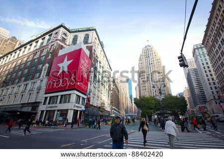 NEW YORK CITY - NOV. 3:  Historic Macy's Herald Square at 34th St. in NYC on Nov. 3, 2011.  The store has been hosting the annual Thanksgiving Day Parade since 1924 and is a major holiday attraction. - stock photo