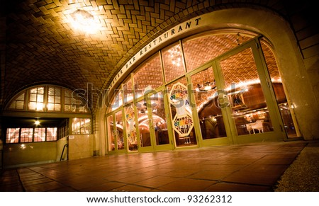 NEW YORK CITY - NOV. 3, 2011:  Historic Oyster Bar Restaurant in NYC's Grand Central Terminal on Nov. 3, 2011. It opened in 1913 and is known for its acoustics nicknaming it the whispering gallery. - stock photo
