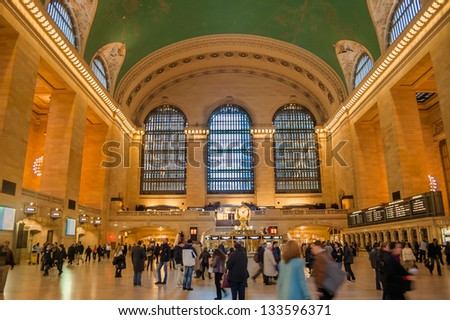 NEW YORK CITY - NOV 9 : Interior of the Grand Central Station Crowded with Commuters and Tourists During the Morning Rush Hour. New York - NY, November 9, 2010. - stock photo
