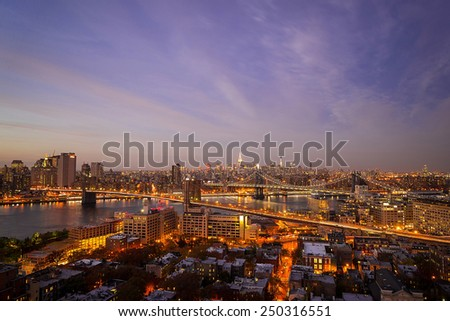 NEW YORK CITY - NOV 9: Manhattan and Brooklyn Bridge from Brooklyn Heights on November 9, 2014.  Brooklyn has recently become the nation's most expensive real estate market. - stock photo