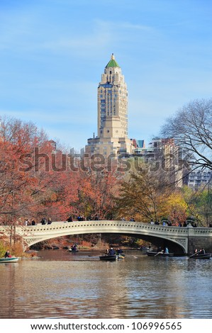 NEW YORK CITY - NOV 19: People have fun in Central Park on November 19, 2011 in New York City. It is a National Historic Landmark since 1963 and the most visited urban park in the United States. - stock photo