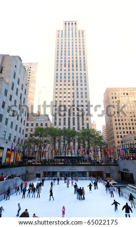 NEW YORK CITY - NOV 13: People skate on ice in Rockfeller Center in midtown Manhattan to welcome Christmas. 2010 on November 13, 2010 in Manhattan, New York City. - stock photo
