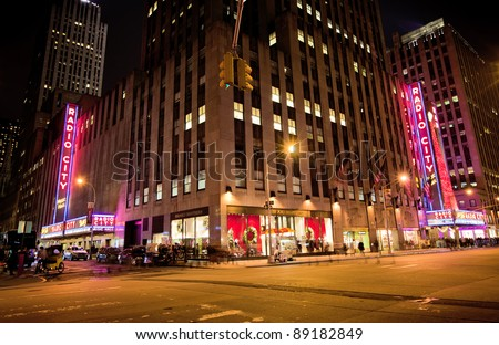 NEW YORK CITY - NOV 13: Radio City Music Hall, is the worlds largest indoor theater displaying this years Christmas tree decoration, November 13th, 2011 in Manhattan, New York City. - stock photo