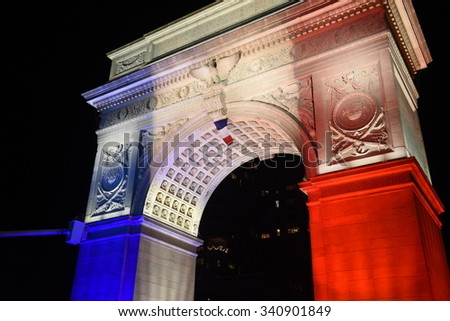 NEW YORK CITY - NOVEMBER 14 2015: A day that began with a rally at Washington Square Park culminated in a candlelight vigil outside the French consulate for victims of the Paris terror attacks - stock photo