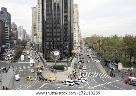 NEW YORK CITY - NOVEMBER 10: Columbus Circle in NYC. This major landmark is the point from which all official distances from New York City are measured. November 10, 2012, New York - stock photo