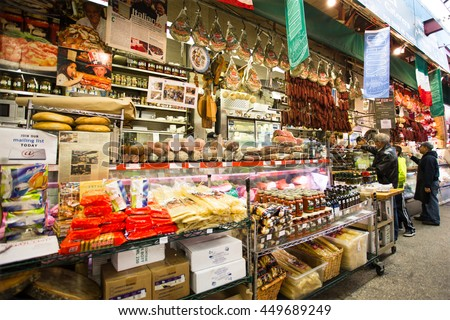 NEW YORK CITY - NOVEMBER 8, 2013:  Italian deli in speciality market in Little Italy, Arthur Avenue in The Bronx