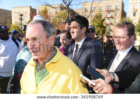NEW YORK CITY - NOVEMBER 20 2015: Mayor de Blasio, former mayor Mike Bloomberg & Bette Midler celebrated the planting of one million new trees in NYC. Former NYC mayor Mike Bloomberg