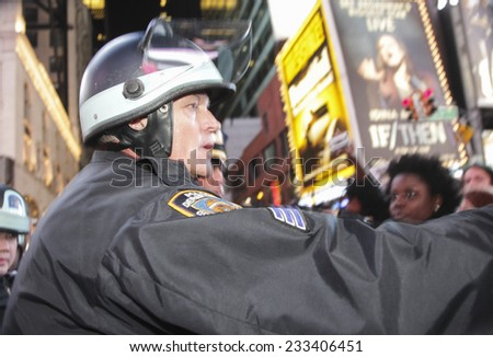 NEW YORK CITY - NOVEMBER 25 2014: nearly one thousand activists staged a second day of protest & marching throughout Manhattan in protest of the Ferguson grand jury's failure to indict Darren Wilson