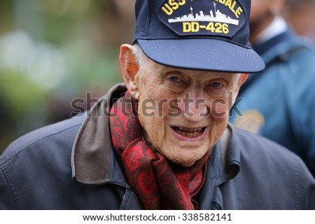 NEW YORK CITY - NOVEMBER 11 2015: New York City's Veterans Day parade was led by the US navy as this year's featured service. Former Manhattan DA Robert Morgenthau & US navy veteran & grand marshal - stock photo