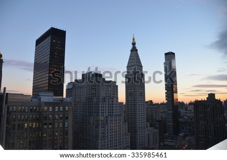 New York City - November 2, 2014: Sunset in NYC