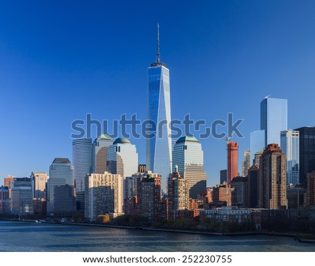 NEW YORK CITY, NOVEMBER 18:  The Lower Manhattan skyline in New York City pictured on November 18th, 2014.  The One World Trade Centre dominates the skyline. - stock photo