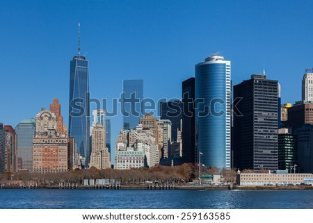 NEW YORK CITY, NOVEMBER 18:  The Lower Manhattan skyline in New York City pictured on November 18th, 2014.  The One World Trade Center dominates the skyline.
