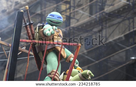 NEW YORK CITY - NOVEMBER 27 2014: the 88th annual Macy's Thanksgiving Day parade stretched from Manhattan's Upper West Side to Herald Square, viewed by 350,000 spectators. Teenage Mutant Ninja Turtles - stock photo