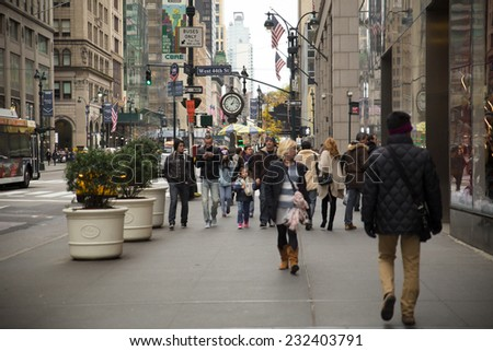 NEW YORK CITY - NOVEMBER 16, 2014:  View on Fifth Avenue in Midtown Manhattan  - stock photo